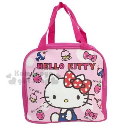 〔小禮堂〕Hello Kitty 皮質保冷手提便當袋《桃.側坐》手提袋.野餐袋