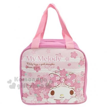 〔小禮堂〕美樂蒂 皮質保冷手提便當袋《粉白.櫻花》手提袋.野餐袋