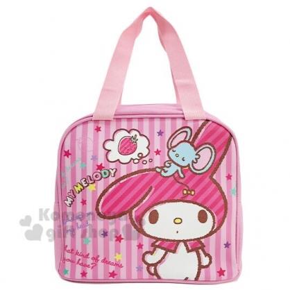 〔小禮堂〕美樂蒂 皮質保冷手提便當袋《粉.直紋》手提袋.野餐袋