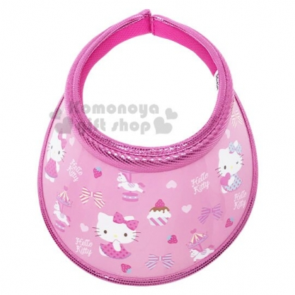 〔小禮堂〕Hello Kitty 兒童鐳射光半罩遮陽帽《桃.杯子蛋糕》防曬帽.鴨舌帽