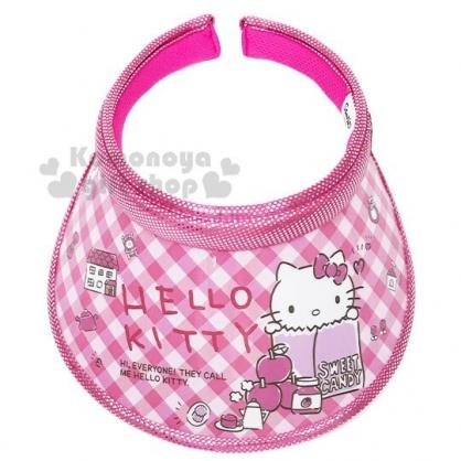 〔小禮堂〕Hello Kitty 兒童鐳射光半罩遮陽帽《桃.格紋》防曬帽.鴨舌帽