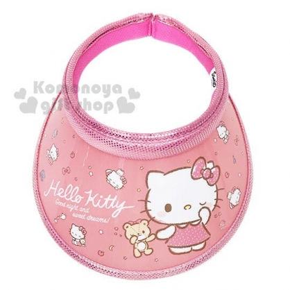 〔小禮堂〕Hello Kitty 兒童鐳射光半罩遮陽帽《粉.拉小熊》防曬帽.鴨舌帽