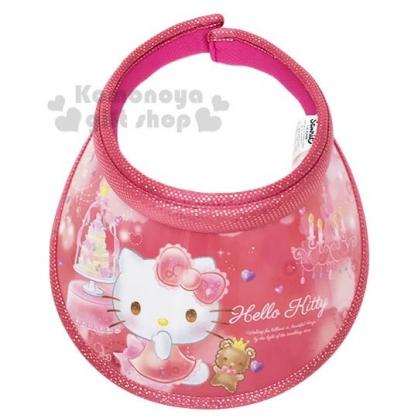 〔小禮堂〕Hello Kitty 兒童鐳射光半罩遮陽帽《紅.蛋糕》防曬帽.鴨舌帽