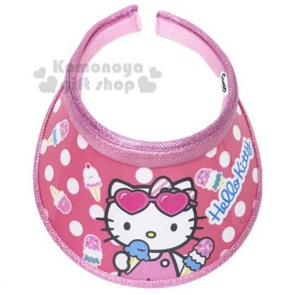 〔小禮堂〕Hello Kitty 兒童鐳射光半罩遮陽帽《粉.點點》防曬帽.鴨舌帽