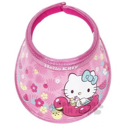 〔小禮堂〕Hello Kitty 兒童鐳射光半罩遮陽帽《桃.坐紅鶴》防曬帽.鴨舌帽