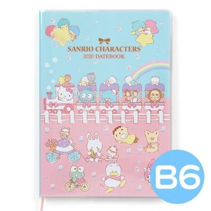〔小禮堂〕Sanrio大集合 2020 B6行事曆《粉藍.坐火車》手帳.年曆.記事本