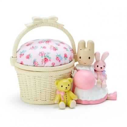 〔小禮堂〕兔媽媽 造型陶瓷拿蓋針墊收納盒《粉棕》針墊盒.置物盒.玫瑰甜心系列