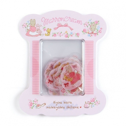 〔小禮堂〕兔媽媽 造型透明貼紙組《粉白》裝飾貼.黏貼用品.玫瑰甜心系列