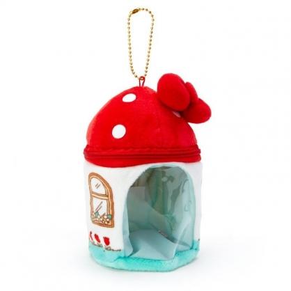 〔小禮堂〕Hello Kitty 迷你造型絨毛玩偶娃娃屋《紅白》掛飾.收納包.絨毛收納盒