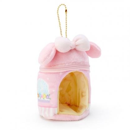 〔小禮堂〕美樂蒂 迷你造型絨毛玩偶娃娃屋《粉白》掛飾.收納包.絨毛收納盒