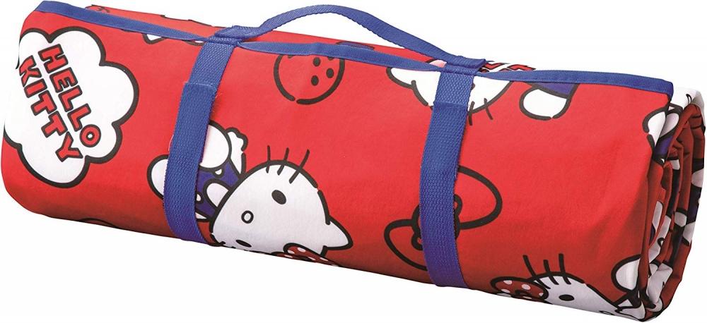 〔小禮堂〕Hello Kitty 攜帶式折疊手提野餐墊《紅藍.滿版》140x200cm.海灘墊.遊戲墊