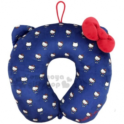 〔小禮堂〕Hello Kitty 造型絨毛U型頸枕《深藍.吊帶褲》午安枕.靠枕