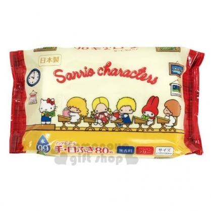 〔小禮堂〕Sanrio大集合 日製80抽手口濕紙巾包《黃紅.教室》柔濕巾.清潔用品