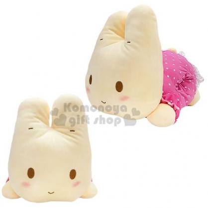 〔小禮堂〕兔媽媽 造型絨毛暖手抱枕靠墊《粉白.趴姿》靠枕.絨毛玩偶