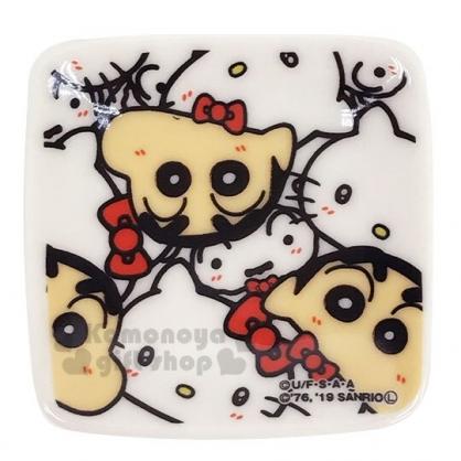 〔小禮堂〕Hello Kitty 蠟筆小新 日製迷你陶瓷方形小菜碟《白.大臉滿版》醬料碟.金正陶器