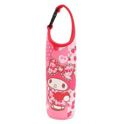 〔小禮堂〕美樂蒂 潛水布飲料杯套《粉.草莓和服》手搖杯套.環保杯袋.水壺袋
