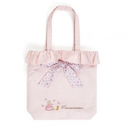 〔小禮堂〕兔媽媽 直式荷葉邊帆布側背袋《粉》肩背袋.手提袋.玫瑰甜心系列