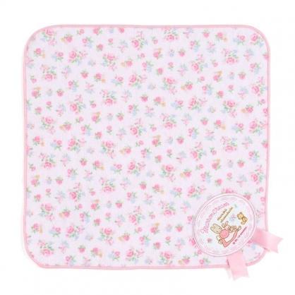 〔小禮堂〕兔媽媽 純棉割絨圓角小方巾《粉》25x25cm.手帕.毛巾.玫瑰甜心系列