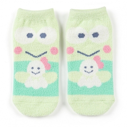 〔小禮堂〕大眼蛙 成人保暖襪《綠.全身》23-25cm.及踝襪.絨毛襪