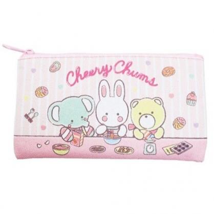 〔小禮堂〕凱莉兔 帆布扁平拉鍊筆袋《粉.直條》收納包.化妝包.鉛筆盒