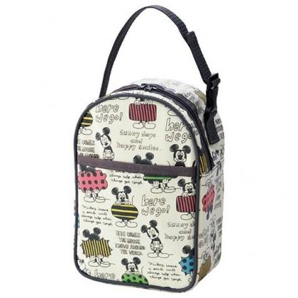 〔小禮堂〕迪士尼 米奇 尼龍拉鍊保冷奶瓶收納袋《米灰.插圖》手提包.保冷袋.奶粉罐收納