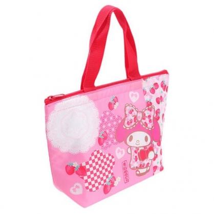 〔小禮堂〕美樂蒂 尼龍保冷手提便當袋《粉.草莓和服》手提袋.外出袋.保冷袋