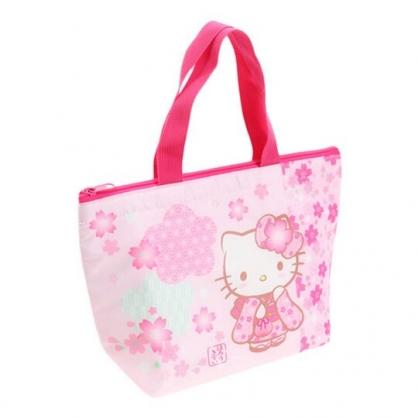〔小禮堂〕Hello Kitty 尼龍保冷手提便當袋《粉.櫻花和服》手提袋.外出袋.保冷袋