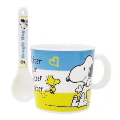 〔小禮堂〕史努比 陶瓷馬克杯附湯匙《藍黃.張開手》茶杯.咖啡杯