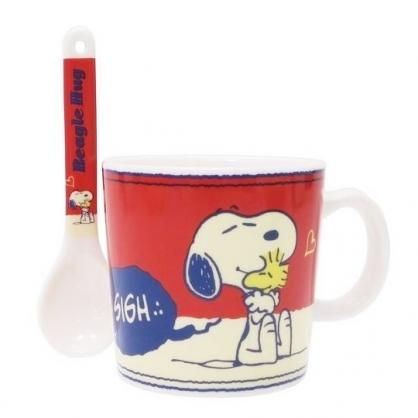 〔小禮堂〕史努比 陶瓷馬克杯附湯匙《米紅.抱抱》茶杯.咖啡杯