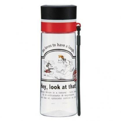 〔小禮堂〕迪士尼 米奇 透明隨身冷水瓶《黑紅蓋.追高飛》380ml.水壺.隨身瓶