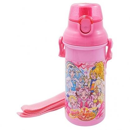 〔小禮堂〕光之美少女 日製直飲式水壺附背帶《粉.打招呼》480ml.水瓶.兒童水壺