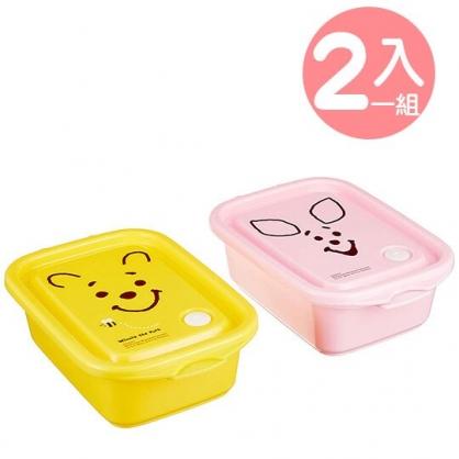 〔小禮堂〕迪士尼 小熊維尼 日製方形透明保鮮盒組《2入.粉黃.大臉》500ml.便當盒.食物盒.餐盒