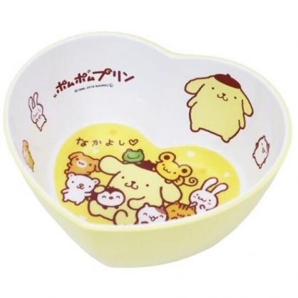 〔小禮堂〕布丁狗 愛心造型美耐皿碗《黃白.朋友》飯碗.塑膠碗