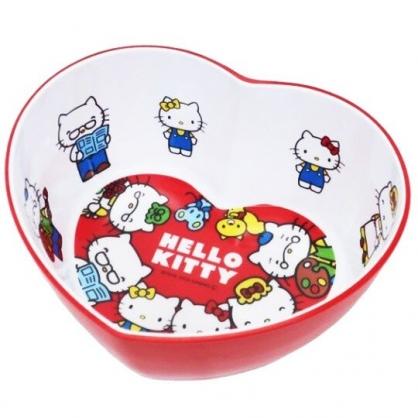 〔小禮堂〕Hello Kitty 愛心造型美耐皿碗《紅白.家人》飯碗.塑膠碗