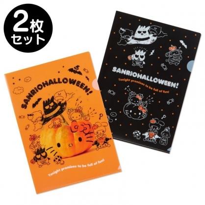 〔小禮堂〕Sanrio大集合 日製L型文件夾組《2入.橘黑》資料夾.L夾.檔案夾.2019萬聖節系列