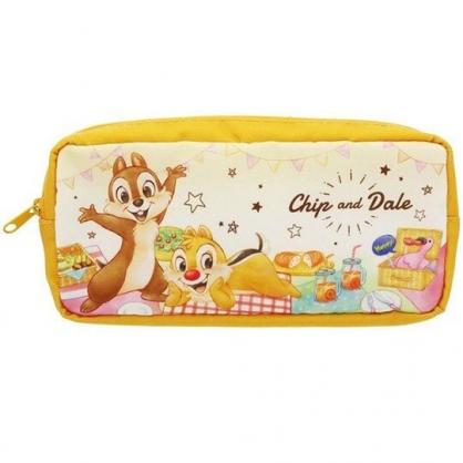 〔小禮堂〕迪士尼 奇奇蒂蒂 方形尼龍拉鍊筆袋《黃棕.野餐》收納包.化妝包.鉛筆盒