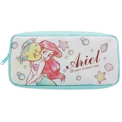 〔小禮堂〕迪士尼 小美人魚 方形尼龍拉鍊筆袋《綠.臉碰臉》收納包.化妝包.鉛筆盒