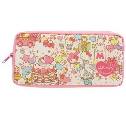 〔小禮堂〕Sanrio大集合 方形尼龍拉鍊筆袋《粉.45週年》收納包.化妝包.鉛筆盒