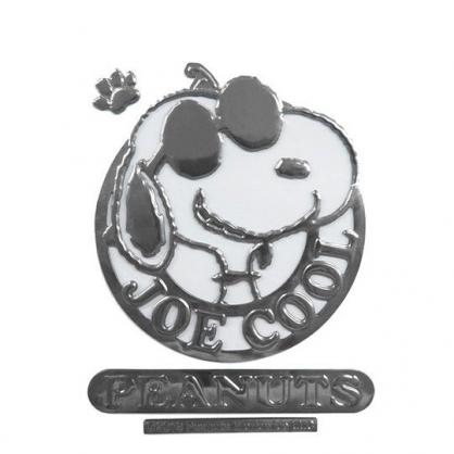 〔小禮堂〕史努比 車用造型裝飾貼《銀.戴墨鏡》壁貼.反光貼紙