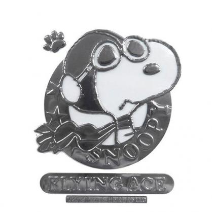〔小禮堂〕史努比 車用造型裝飾貼《銀.飛行帽》壁貼.反光貼紙