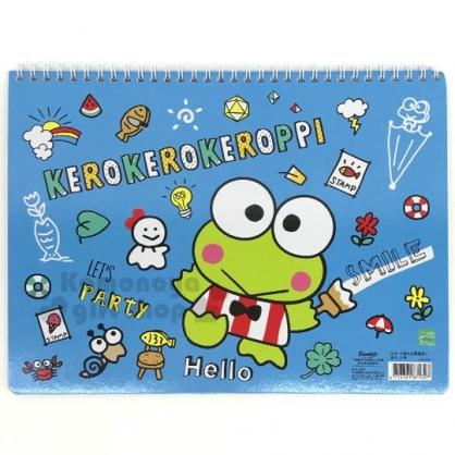 〔小禮堂〕大眼蛙 橫式線圈空白頁塗鴉本《藍綠.刷油漆》畫本.繪圖本.記事本