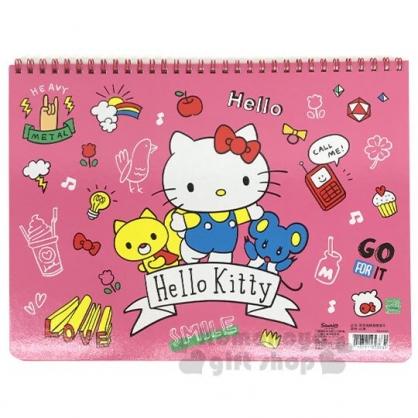 〔小禮堂〕Hello Kitty 橫式線圈空白頁塗鴉本《粉.招手》畫本.繪圖本.記事本