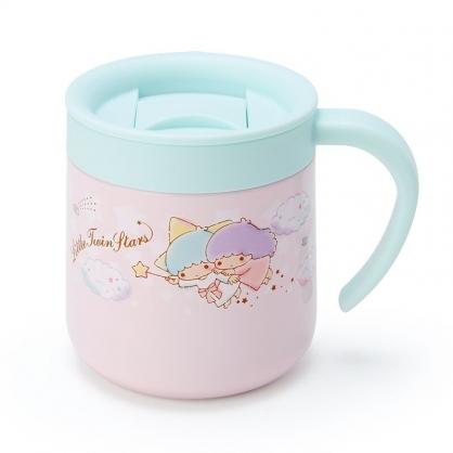 〔小禮堂〕雙子星 單耳不鏽鋼附蓋保溫杯《粉藍》300ml.保冷杯.茶杯