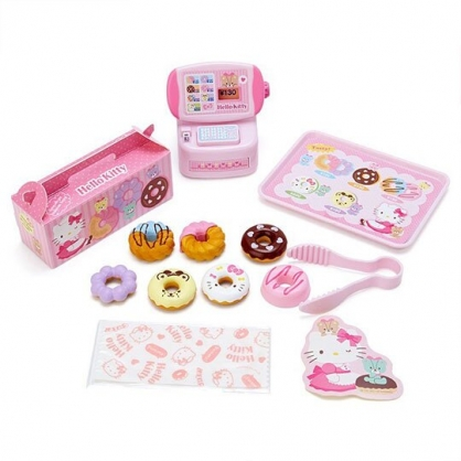 〔小禮堂〕Hello Kitty 甜甜圈店收銀機玩具組《粉.泡殼裝》扮家家酒.兒童玩具