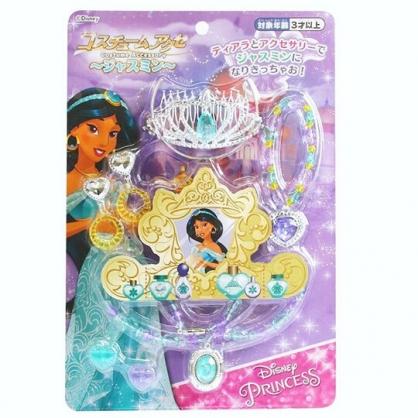 〔小禮堂〕迪士尼 阿拉丁 莫莉公主 皇冠項鍊首飾玩具組《綠紫銀.泡殼裝》化妝玩具.兒童玩具