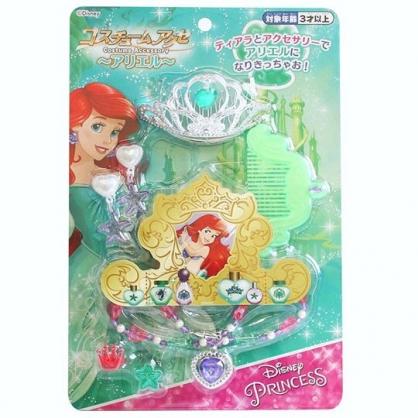 〔小禮堂〕迪士尼 小美人魚 皇冠項鍊首飾玩具組《綠銀.泡殼裝》化妝玩具.兒童玩具