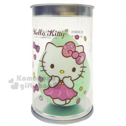 〔小禮堂〕Hello Kitty 乾濕兩用美妝蛋附收納罐《綠.水滴型》化妝海綿.粉撲