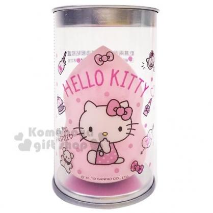 〔小禮堂〕Hello Kitty 乾濕兩用美妝蛋附收納罐《粉.葫蘆型》化妝海綿.粉撲