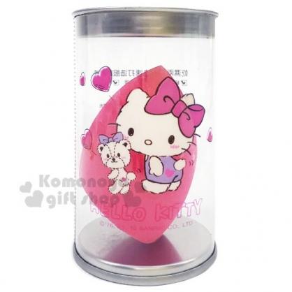 〔小禮堂〕Hello Kitty 乾濕兩用美妝蛋附收納罐《桃.切面型》化妝海綿.粉撲