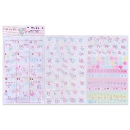 〔小禮堂〕雙子星 2020 年曆透明標記貼紙《粉藍》月曆.日曆.行事曆